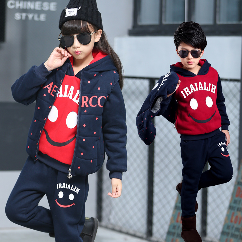 ФОТО Girls Clothing Winter Sets Lovely Smiling Vest Waistcoat + Sweatshirts + Pants Sport Suit Outfit Kids Clothes Boys Clothing Set