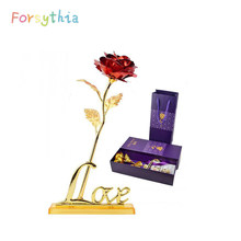 24K Foil Plated Gold Rose Gift For Girlfriend Valentine's Day Gift For Mother's Day Artificial Flower Wedding Decoration(China)