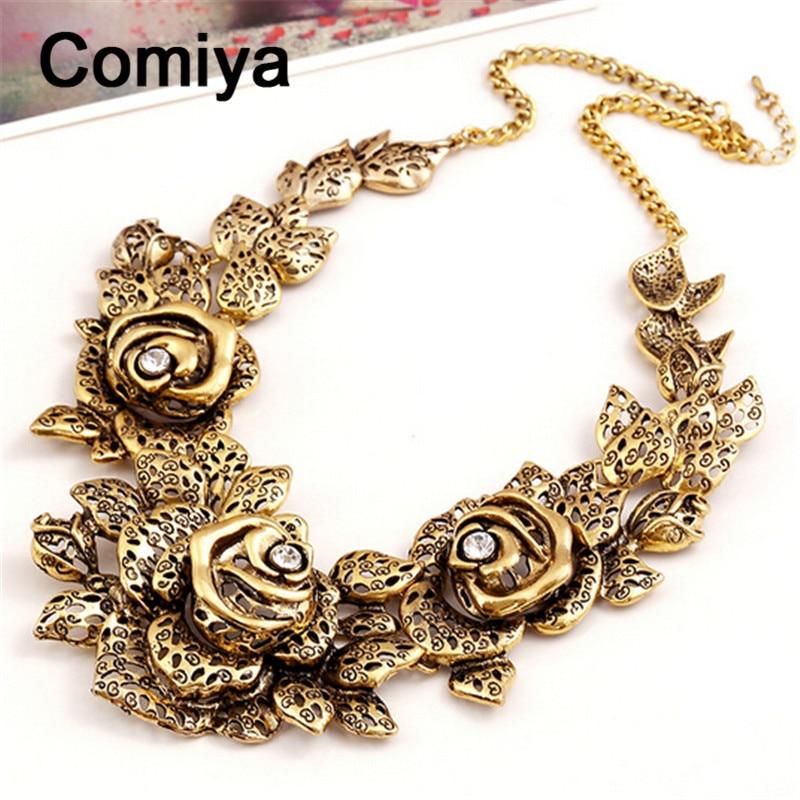 big vintage flower necklace colar de couro benefit