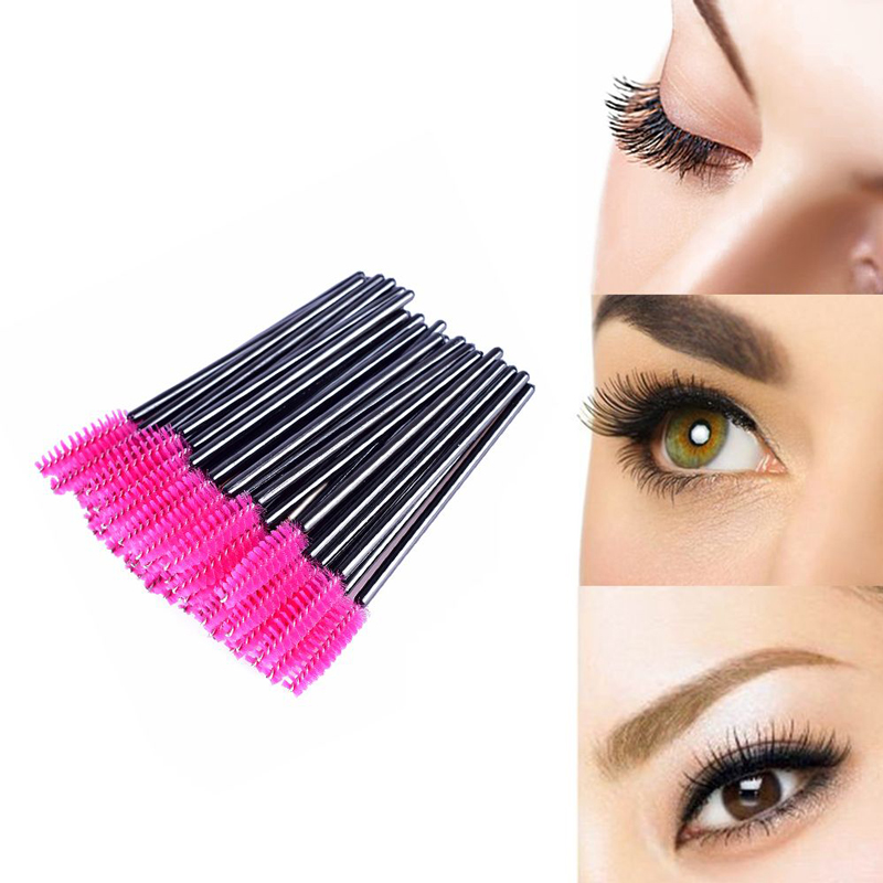 50Pcs/Pack Disposable Eyelash Brushes Mascara Wands Applicator Brushes Eyelash Comb Eye Lashes Extension Brushes Makeup Tool 2016 new arrival black dual purpose eyelash assist device extension beauty supplies brow brush lash comb makeup brushes tools