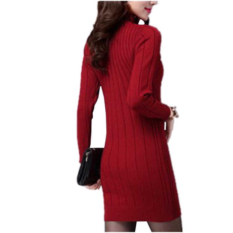 Новинка, Осень-зима, женский свитер, платья с длинным рукавом, толстое, теплое, вязаное платье, сексуальное, облегающее, водолазка, платья, vestido de festa AB022