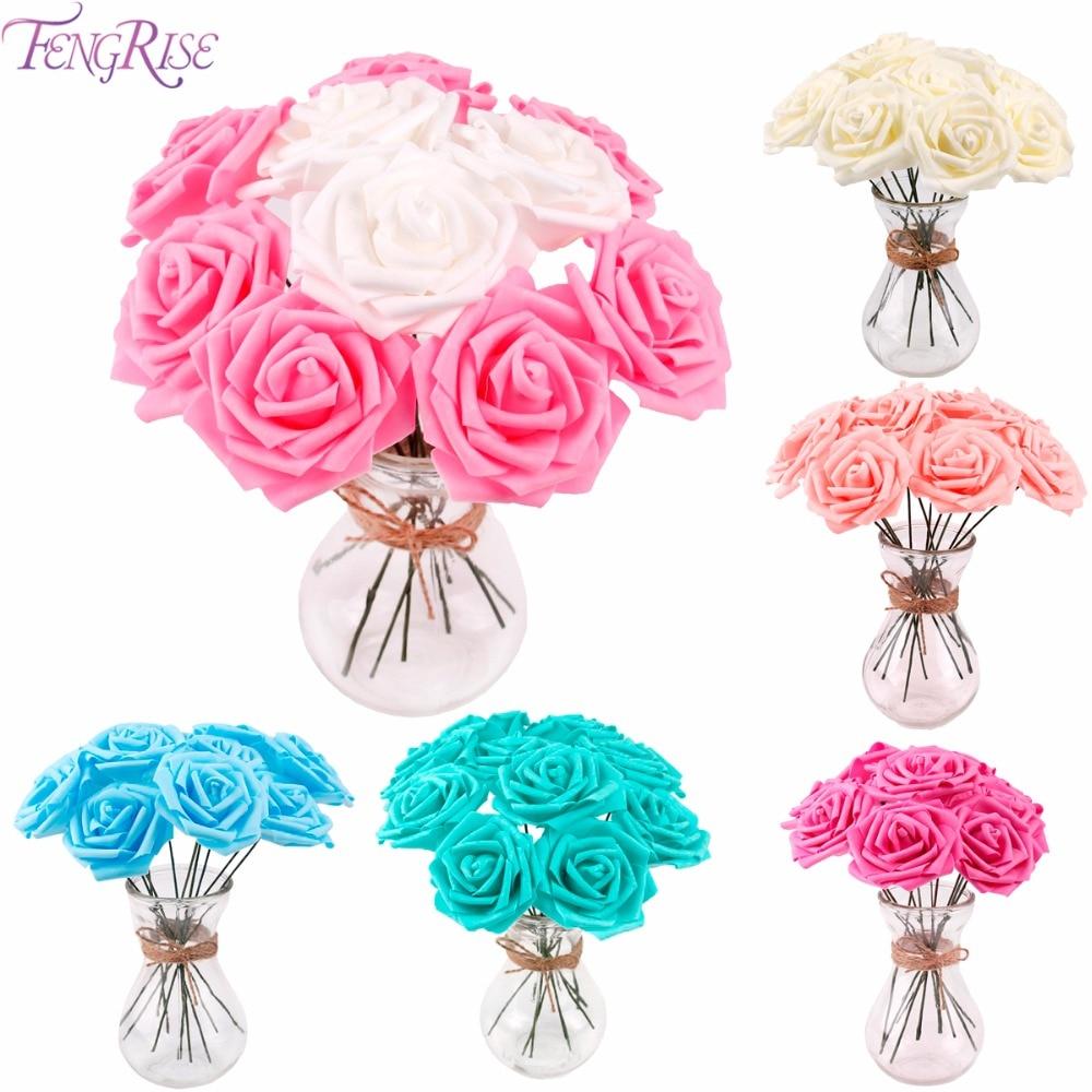 Online Shop Fengrise 10 Kopfe Kunstliche Blumen Bouquet Pe Schaum