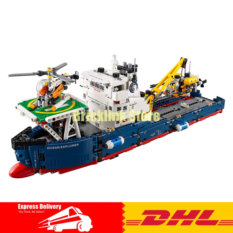 IN STOCK Lepin 20034 1347pcs Genuine New Technic Series The Searching Ship Set Educational Building Blocks Bricks Toys 42064 lepin 20034 1347pcs technic series air helicopter rescue search ship model building set blocks bricks toys compatible legoe