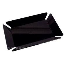 Modern Acrylic Storage Tray Black Rectangle Plexiglass Makeup Organizer Lucite Serving Plate Dessert Jewelry Display Home Decor one lux black acrylic vanity tray table lucite side corner tables plexiglass living storage desk