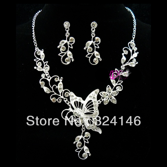 New Fashion Noble Crystal butterfly jewelry sets Shiny rhinestone jewelry sets for Women wedding Best gifts wholesale