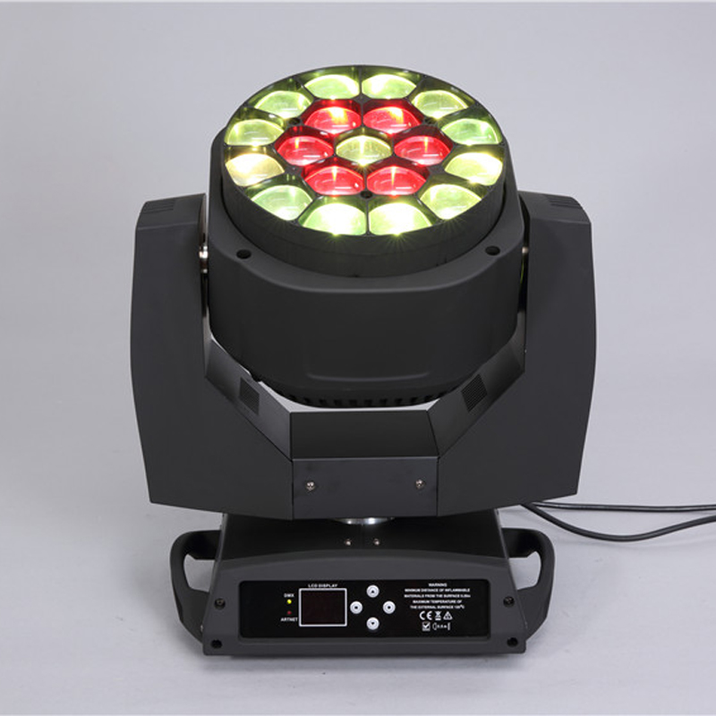 High quality disco 19*15W 4 in 1 RGBW led big bee eye k10 led zoom moving head light rotation len fKaleido effects for wedding