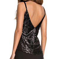 Sexy Female Tank Sequins Slim Tank Backless Party Women Tank For Black Solid Women Tops Street