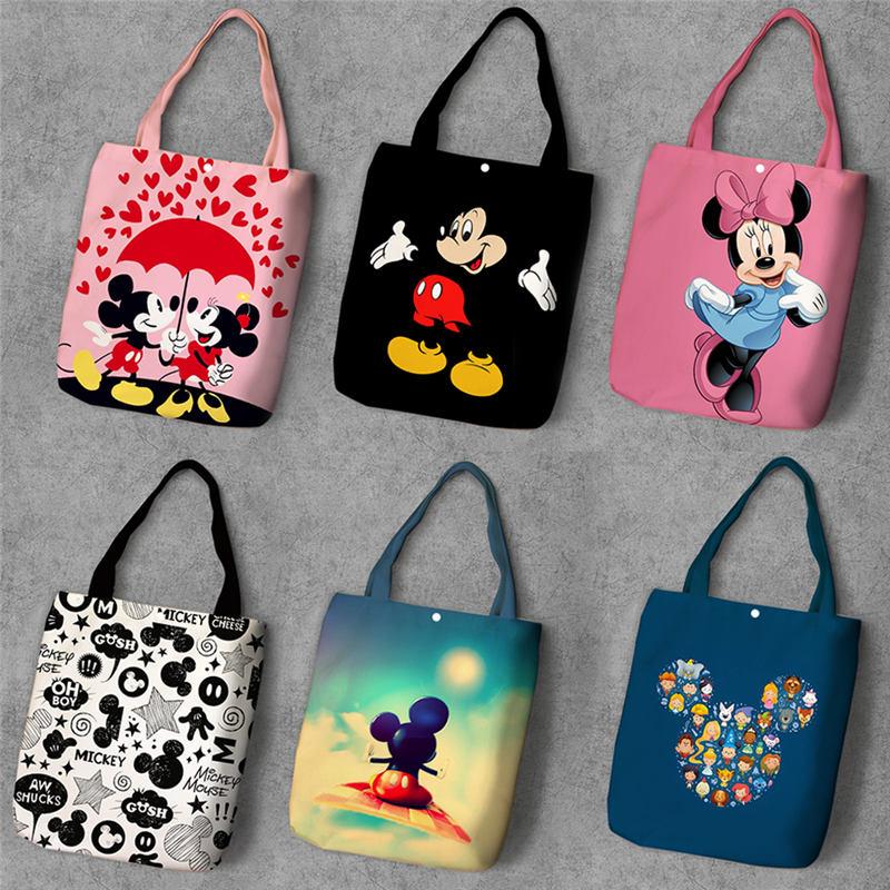 Disney High Capacity Handbags Cartoon Mickey Mouse Canvas Tote Bag Shopper For Shoulder Shopping Bag Minnie Mouse