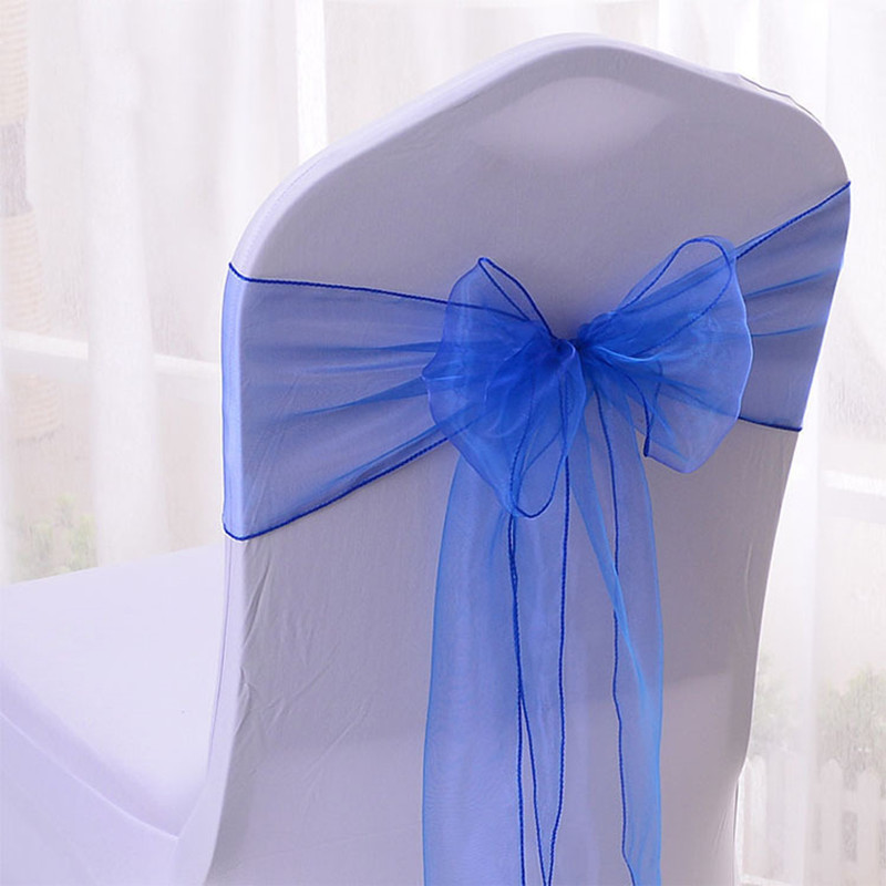 WedFavor 100pcs Royal Blue Organza Chair Sashes Wedding Chair Bow Ribbon Ties For Hotel Event Party Decoration-in Chair Cover from Home & Garden    1