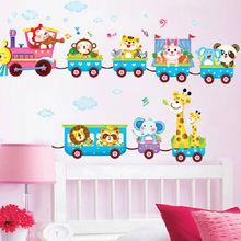 Cartoon Funny Animals Train Wall Stickers Decor Baby Room Fun Decor Removable Vinyl