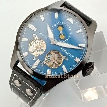 Mens luxury Brand 47mm Corgeut Pvd Case Date Luminous flywheel Automatic Mechanical mens Watch 2827