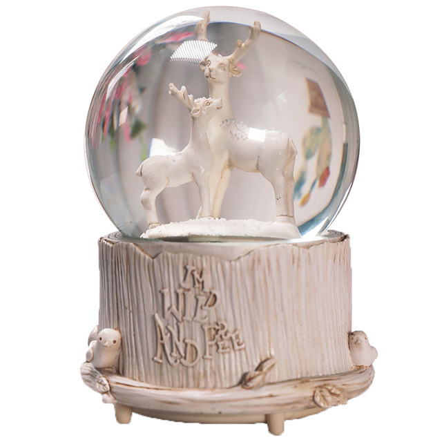 Fairytale Polar Bear Elk Crystal Ball Music Box 8 Kinds Of Music Luminous Automatic Snow Drift Music Box Christmas New Year Gift