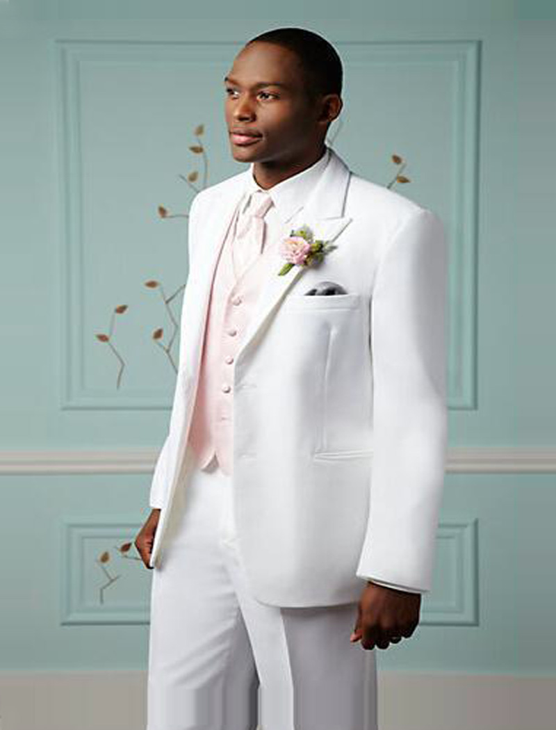Custom Made Size and Color White Groom Tuxedos Notch Lapel Two ...