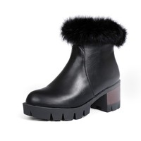 2016 Snow Boots Botas Mujer Fashion Ankle Boots Vintage Brand Low Heels Winter For Women Warm Snow Shoe high quality 999 1