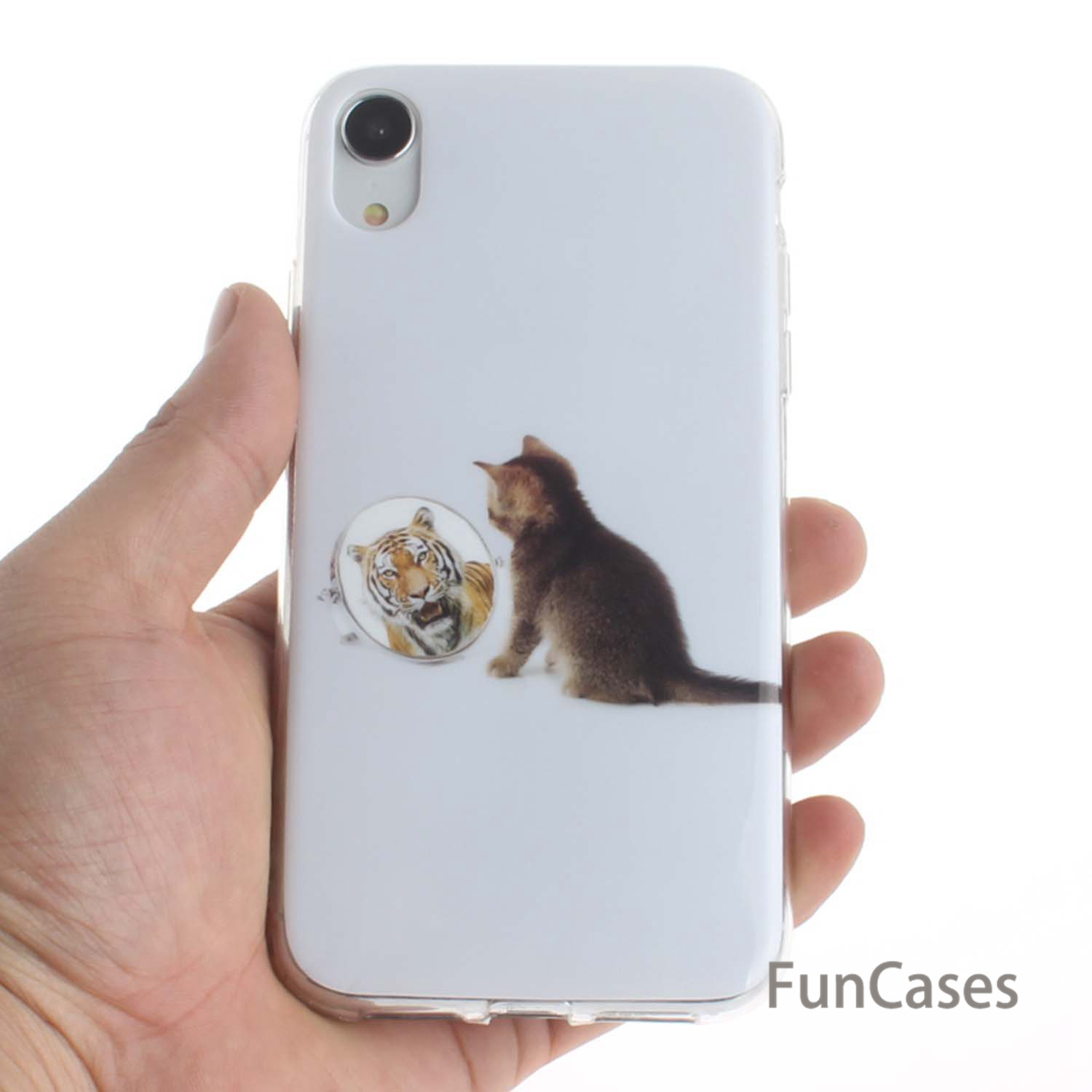 Soft Silicone Back Covers For capinha iPhone XR White Cat Cool Cases New Case sFor Coque Apple iPhone hoesje 6.1 inch Telefoon image