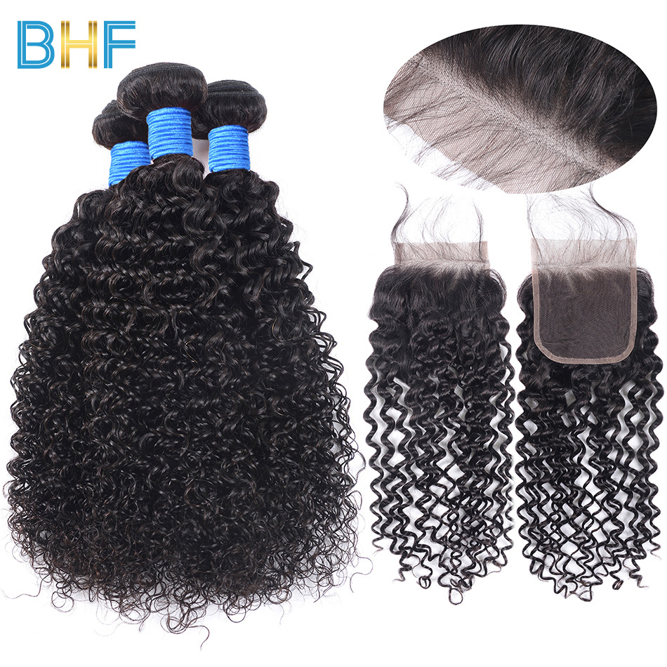 BHF 3 Bundles With Closure Brazilian Kinky Curly Human Hair Weave Brazillian Virgin Hair Extensions Bundles With Lace Closure