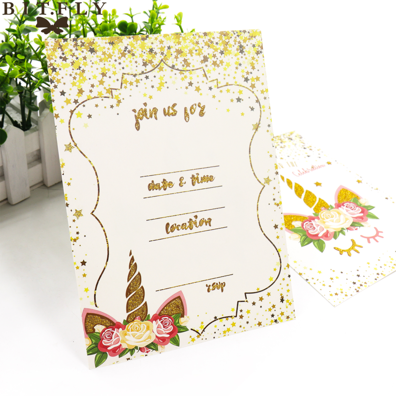 Us 10 47 31 Off Bit Fly 10pcs Lot Glitter Unicorn Invitation Card Envelope Birthday Kids Party Unicorn Theme Party Diy Decorations Supplies In Cards