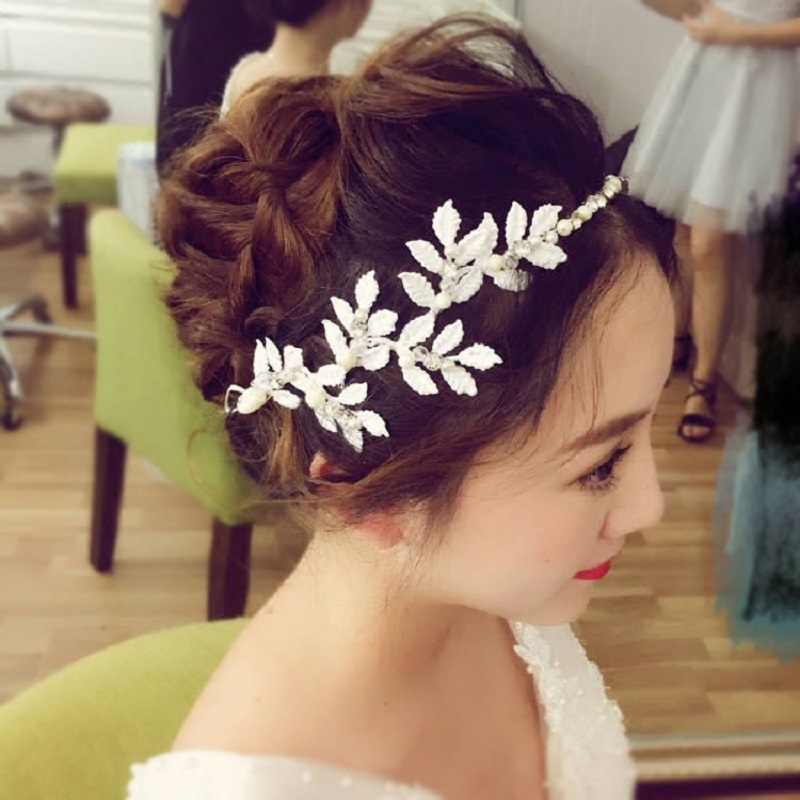 FORSEVEN Classic Pearl Crystals Flower Headband Hair Chains Clips Bride Tiaras Headpiece Wedding Hair Jewelry Accessories JL