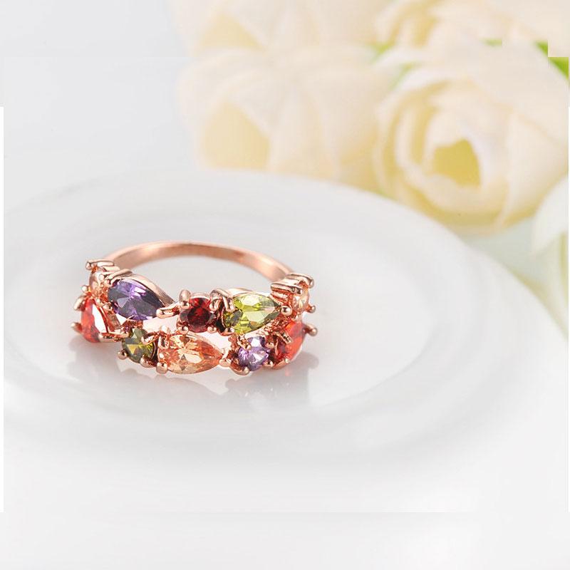 Manxiuni New Top Rose Guldfärg Blommor Smycken Set Multicolor Cubic - Märkessmycken - Foto 5