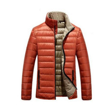 New Arrival Winter Mens Down Jackets Orange Lightweight Contrast Color Down Jacket For Man Overcoats Parkas Hombre Invierno
