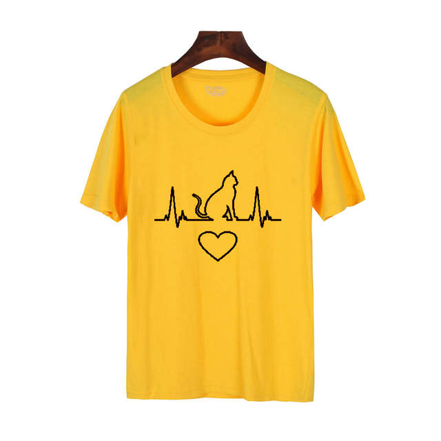 285d3cef Pkorli Cat Heartbeat T Shirt For Cat Lovers Funny Graphic Print Cat Mom  Funny T-