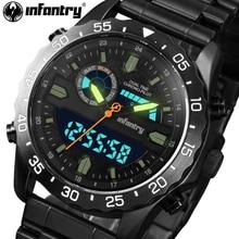 INFANTERÍA Hombres Relojes Completas de Acero Cronógrafo Reloj de Cuarzo Militar Luminosa Pantalla LED Relojes Digitales relojes Relogio masculino