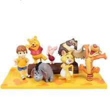Disney 7 pièces/ensemble mes amis winnie ours tigrou figurines en plastique Mini modèle poupées cadeaux danniversaire pour les enfants