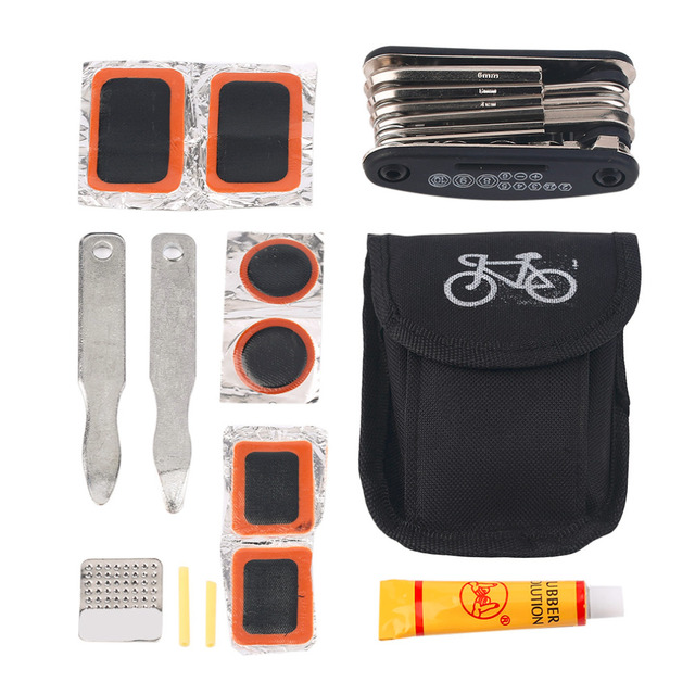 Professional Bicycle Tool Bicycle Bike Tire Tyre Repair Kit Tools Patch Rubber with Bag for All Kinds of Bicycle free shipping