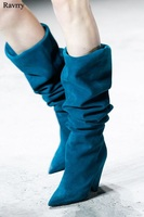 New Arrival Heel Knee High Pleated Loose Long Boots Women Luxurious Beautiful Geometric Pointed Toe Spike Heel Boots