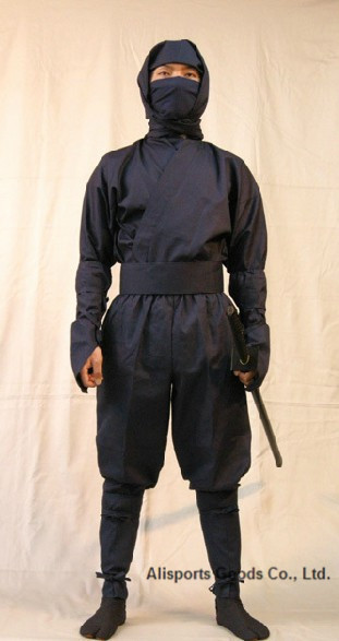 Top Quality Black Ninja Uniform Suit Top pants mask