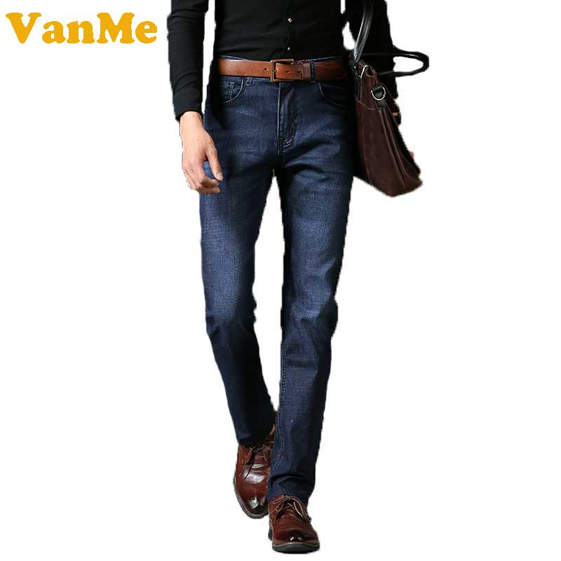 New Fashion Men Casual Jeans Slim Elasticity Feet Dark Blue Jeans