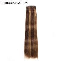 Rebecca Brazilian Non Remy Silky Straight Weave Pre Colored Brown Blonde Human Hair Bundles 1pc For