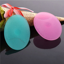 Hot Sale 1 PC Silicone Gel Egg Shaped Washing Face Cleaning Pad Facial Exfoliating Brush SPA Skin Scrub Bath Tool Random Color