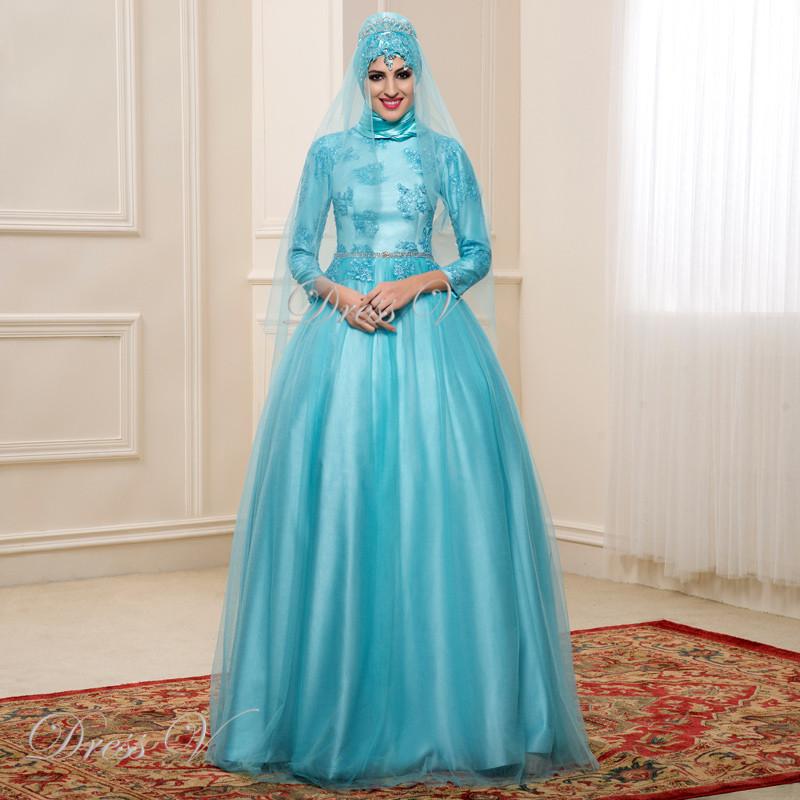 80762742815 2017 Light Blue Ball Gown Muslim Wedding Dresses Hijab Lace 3 4 Sleeves  High Neck Dubai Bridal Kaftan Gown Plus Size Bride Dress