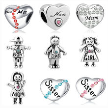 2019 new 1pc silver sister nan mum boy girl mom dad you me diy bead Fit Pandora Charms silver Bracelet original for women F111(China)