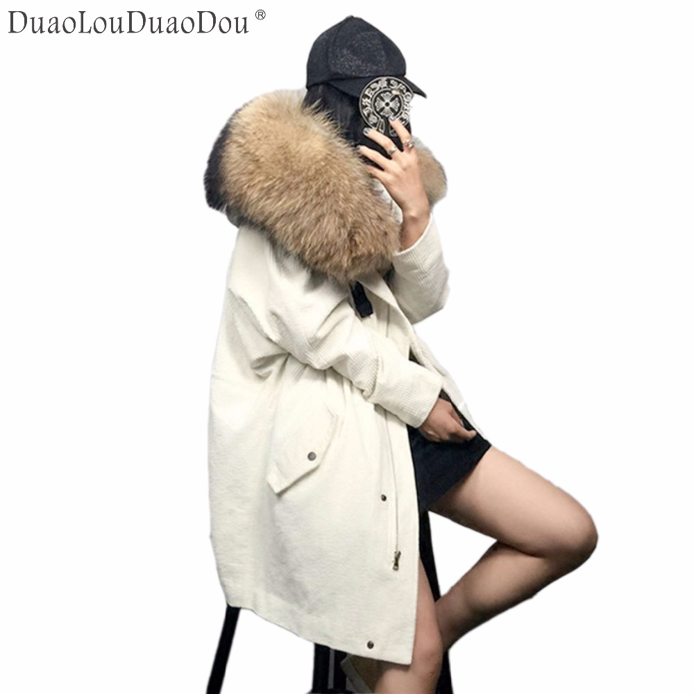 Women's winter overdress warm coat Corduroy lamb Hair Wool liner genuine mink fur Parker long coat Women Loose Snow