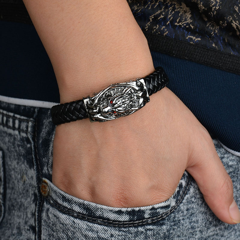 Manly Red Eyed Wolf Personality Punk Bracelet With Rope Chain Titanium Scalp Woven Leather Wristband Male Jewelry MB ...
