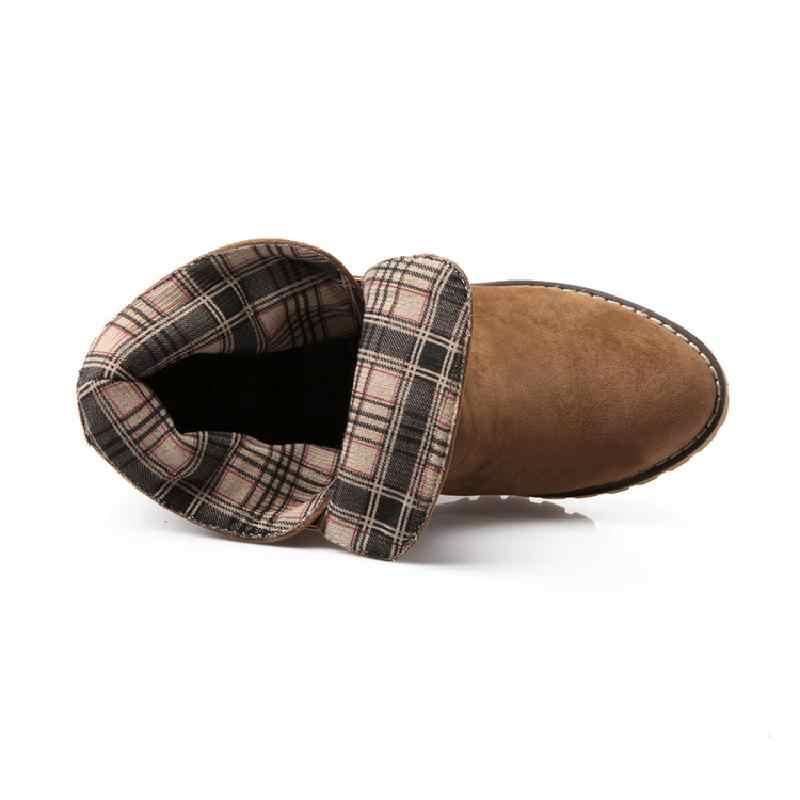 XingDeng kış termal botlar kadınlar yüksek Top bayan ayakkabı sıcak peluş pamuk kısa çizmeler moda ayak bileği ayakkabı Retro Martin çizmeler
