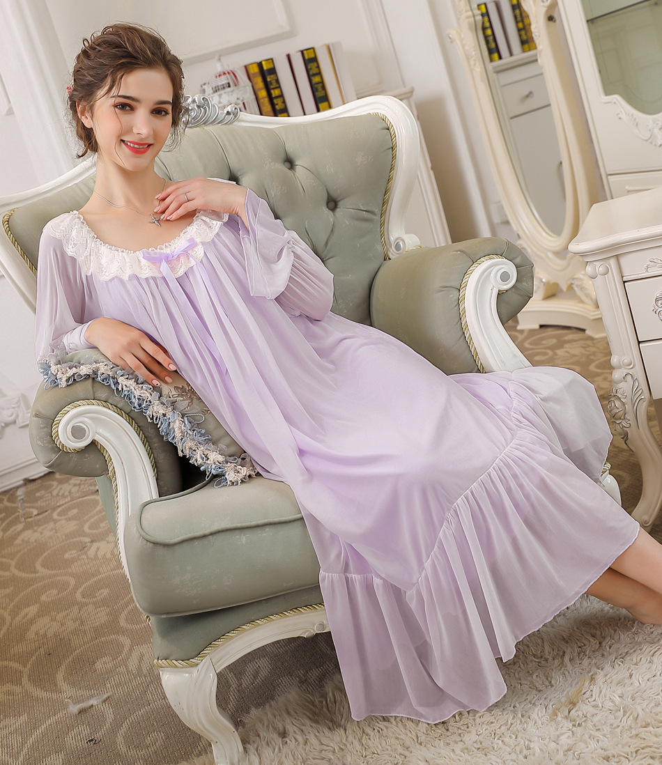 French Sleepwear Plus Size Palace Princess Sleeping Dress Women   Nightgowns     Sleepshirts   Long Nightdres Home Nightshirt Cotton