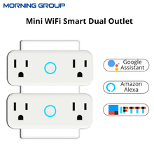 Mini WiFi Smart Socket US Standard Dual Outlet Wall Switch Plug With Energy Monitor Work with Amazon Alexa and Google Home
