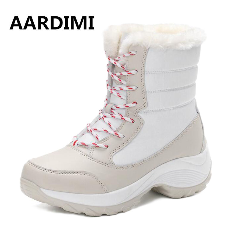Snow Boots Woman 2017 New Arrival Thick Plush Women's Winter Ankle Boots Waterproof Casual Lace Up Shoes For Woman Botas Mujer new arrivals bandage shoes woman winter women boots fur plush lace up snow boots ankle boots