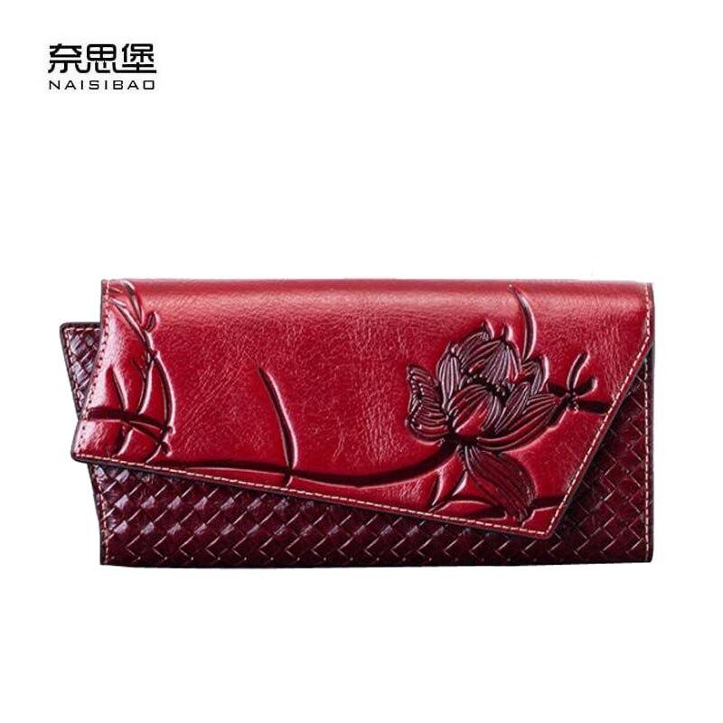 где купить NAISIBAO2018 new luxury fashion high-grade leather long handbags envelope bags brand-name products 100% high-quality women's wel по лучшей цене