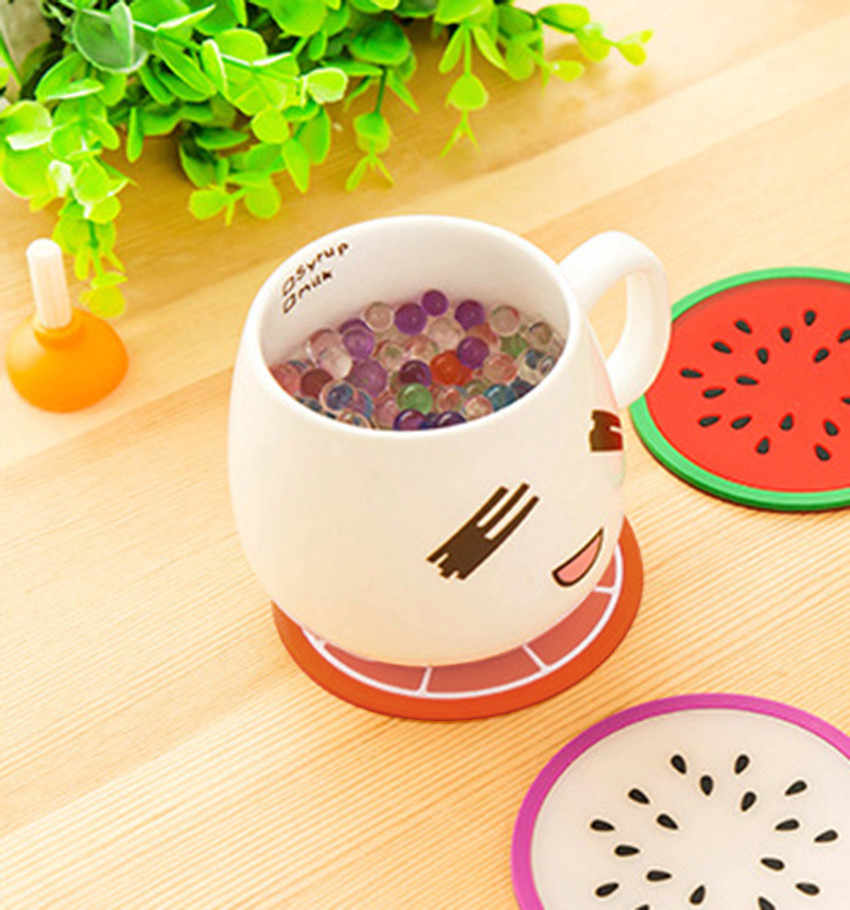 2019 Modern Fashion Fruit Coaster Colorful Silicone Cup Drinks Holder Mat Tableware Placemat