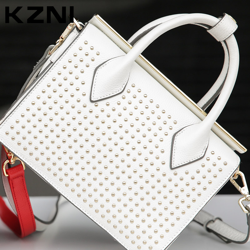 KZNI Genuine Leather Bag Ladies Tote Rivet Crossbody Bag Designer Handbags High Quality Clutches Sac a Main En Cuir Femme 1387 kzni genuine leather handbag women designer handbags high quality phone bag purses and handbags pochette sac a main femme 9022