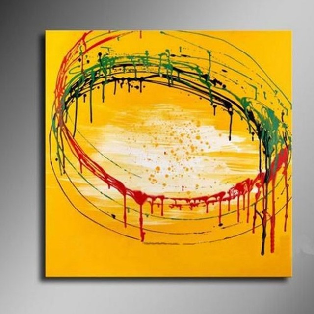 Hand Painted Abstract Yellow Oil Painting Handmade Home Decor Wall ...
