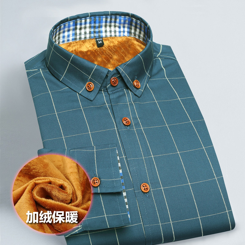 Casual Men's Shirts Winter New Men's Plus Velvet Warm Plaid Long-sleeved Shirt