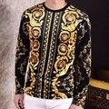 2016 Camisetas Para Hombre Camisetas de Seda Real Barroco de Lujo de Oro brand clothing mens barroco flor retro sociales slim fit club de trajes