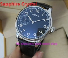 Cristal de safira 44mm parnis mostrador preto asiático 6497/st3600 mecânica vento mão relógio mecânico dos homens relógios 190