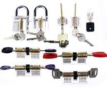 O Envio gratuito de Fechaduras de Combinação Cadeado Bloqueio Pick Set 9 Pcs Prática Transparente Trem Fornecimento de ferramentas de Serralheiro
