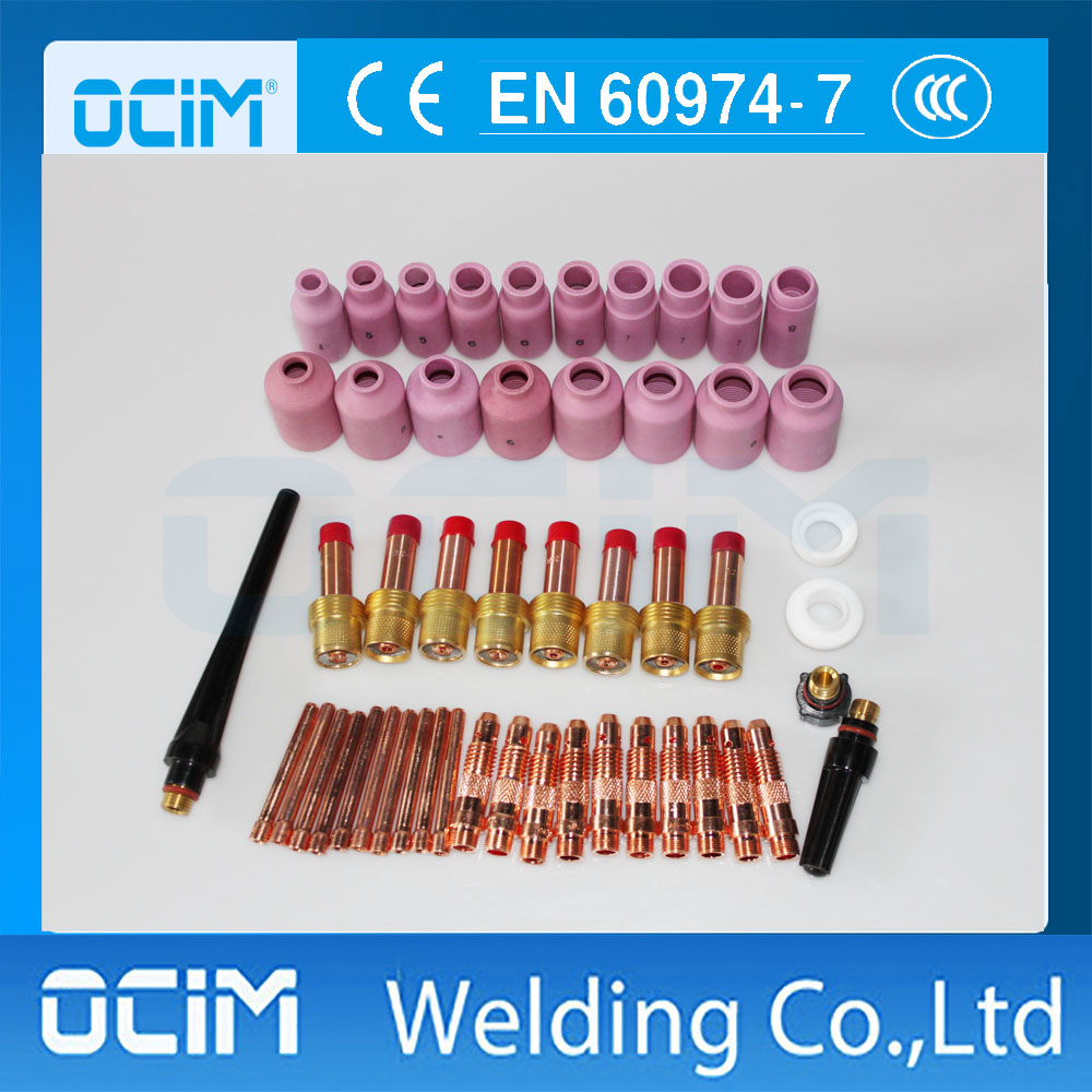 51PCS TIG Welding Torch Consumables Accessories Alumina Gas Lens Back Cap Collet Bodies FIT WP 17